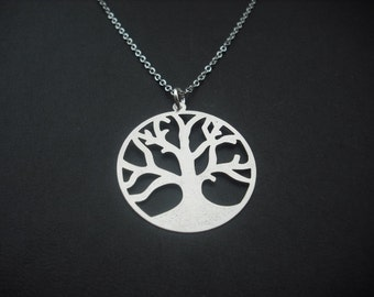 matte silver tree of life necklace - white gold plated chain