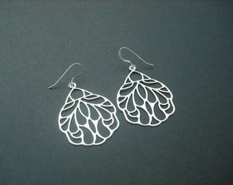 Silver Earrings with Art Nouveau Style Wing Pendant - sterling silver ear wires