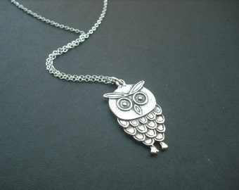SALE - little owl necklace - white gold plated chain