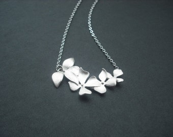 Bridesmaid Necklace, Silver Necklace with Fourfold Wild Orchid Flowers