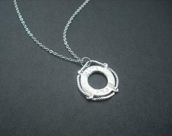 Silver Necklace with Matte Swim Tube Pendant