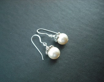 bridesmaids gift, wedding gift, romantic pearl earrings - sterling silver ear wires