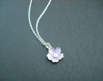 Lavender flower necklace - white gold plated chain