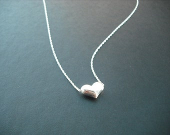 Sterling Silver Necklace with Puffed Heart