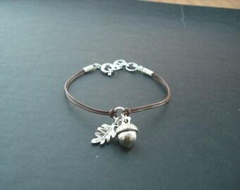 Antique Silver Bracelet with Acorn and Oak Leaf
