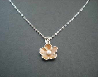 brown flower necklace - white gold plated chain