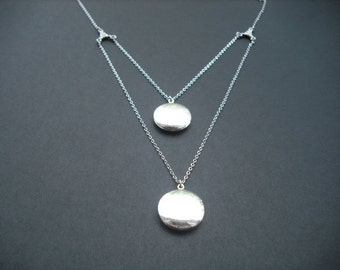 Locket Necklace, Antique Silver double strand locket necklace