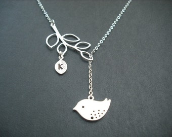 personalized initial branch and mod bird lariat - 1