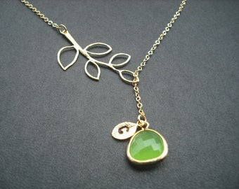 Peridot Lariat,August Birthstone Lariat,Gold Lariat with Initial Leaf,Five Leaf Branch,Jewel,Bridesmaid Lariat,Bridesmaid Gift,Birthday Gift