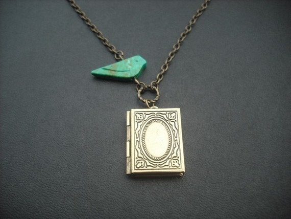 genuine turquoise bird and book locket necklace