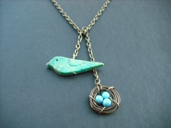 Lariat, Antique Brass Lariat Necklace, turquoise bird and a nest lariat