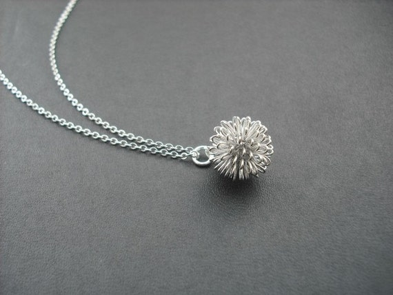 Bridesmaid Necklace, Bridesmaid Gift, Silver Dandelion Necklace, Flower Girl Gift, Birthday Gift