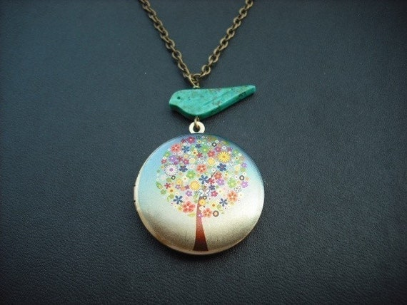 flower tree locket with turquoise bird necklace