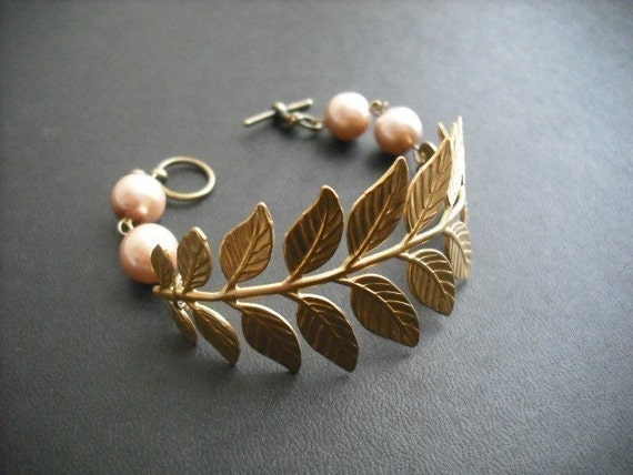 Brass Bracelet with Brass Long Leafy Frond and Pearl, Touch of Life Bracelet