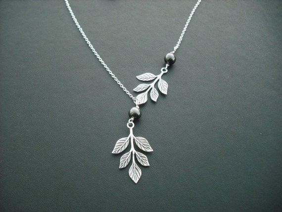 branch and pearl necklace - white gold plated chain