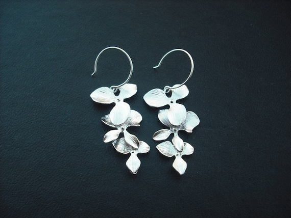 triple orchid flower cascading earring - white gold plated and sterling silver earwire