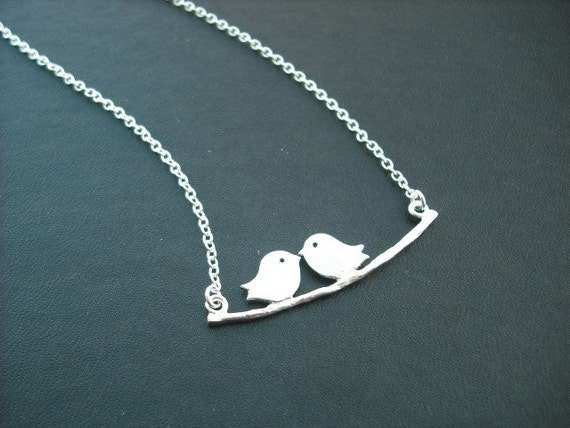 Silver Necklace with lovely mod birds