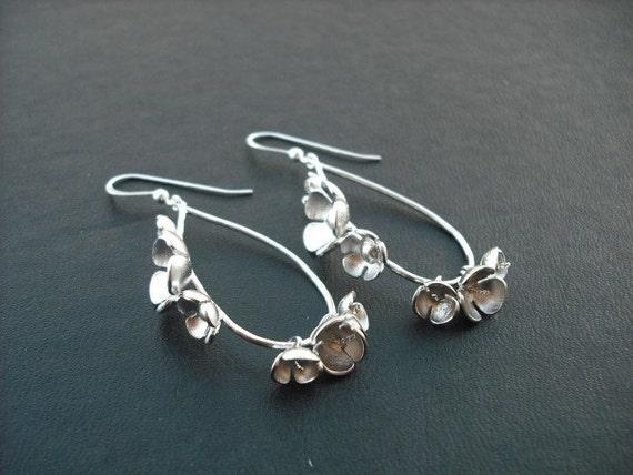 matte white gold flower teardrop earrings - sterling silver ear wires