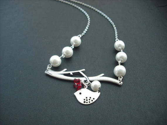 bare branch and mod bird necklace- matte white gold and antique silver