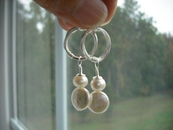 loop and pearl earrings - sterling silver