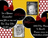Twin Minnie or Mickey Mouse Digital Birthday Photo Invitations