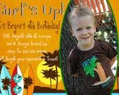 Surfboard Beach Birthday Photo Invitations