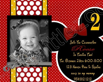 Red Polka Dots Minnie or Mickey Mouse Digital Birthday Photo Invitations