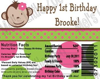 MOD Monkey Digital Candy Bar Wrapper Label