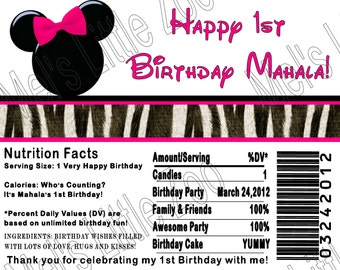 Minnie Mouse Digital Candy Bar Wrapper Label
