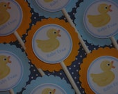 Rubber Ducky Cupcake Toppers,  baby shower, blue, yellow