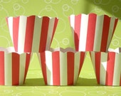 Cupcake Wrappers, red and white striped, carnival theme