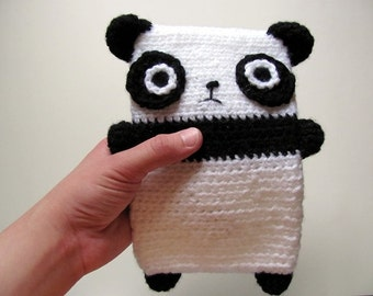 Crochet PATTERN PDF - Amigurumi Panda Bear Black and White Kindle Carry Case - amigurumi pattern, crochet animal purse, carry pouch
