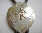 Vintage Rare Irvine and Jachens Sterling Silver Bowling Bolo Tie, Time Raveler