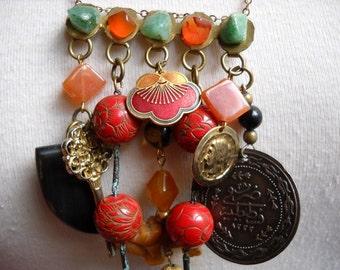 Caravan Memories Gemstone Carving Cloisonne Necklace