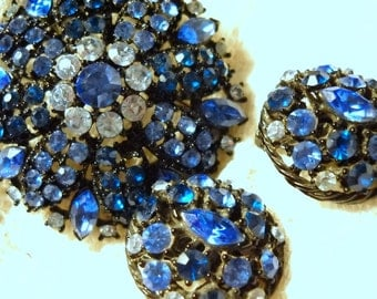 Deep Blue Rhinestone Vintage Demi Parure, Brooch and Earrings, Time Raveler