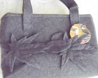 Dark Gray Leaves and the Man in the Moon Fall Handbag, Purse, Time Raveler