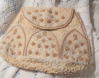 1930's Ivory Beaded Evening Bag, Time Raveler