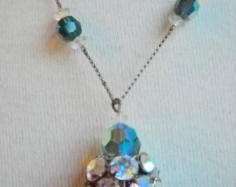 1930s-1940s Aurora Borealis Green Crystal Necklace, Time Raveler