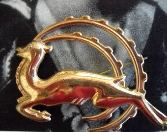 Art Deco Rose Gold Sterling Vermeil Leaping Ibex Brooch, Time Raveler