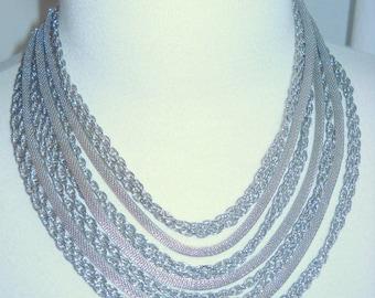 Kramer Silvertone Mesh and Chain Multi Strand Necklace, Time Raveler