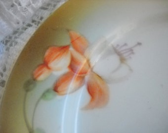 PreWar Germany Hand Painted Fuchsia Bread Plate, Time Raveler
