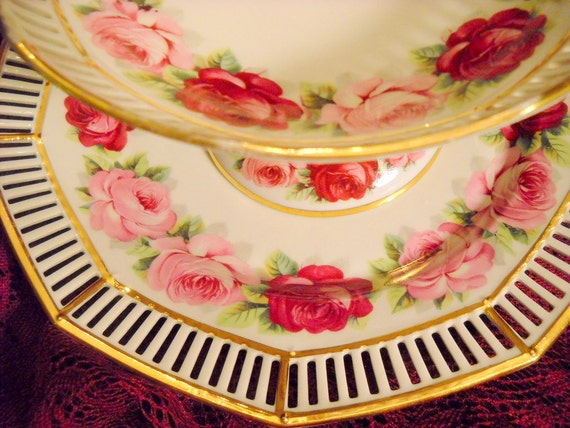 Schumann Roses Reticulated Porcelain Tazza and Underplate