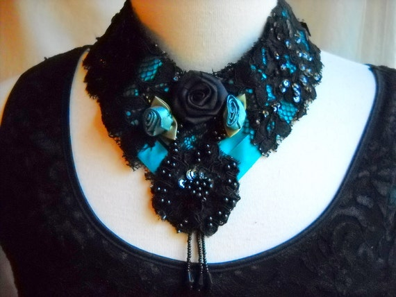 Black and Turquoise Lace and Ribbon Beaded Necklace, Time Raveler