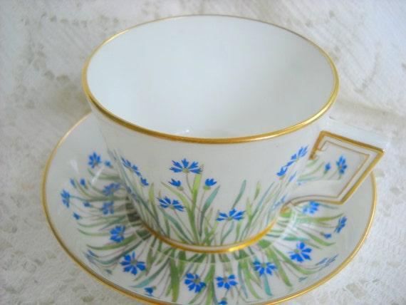 1880 Antique Blue Flower Minton Hand Painted Porcelain Tea Cup and Saucer, Time Raveler
