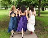 Tea Length MicroFiber Jersey Convertible Bridesmaid Formal Dress