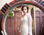 Bride of Frankenstein Inspired Long Sleeve Lace Wedding Dress