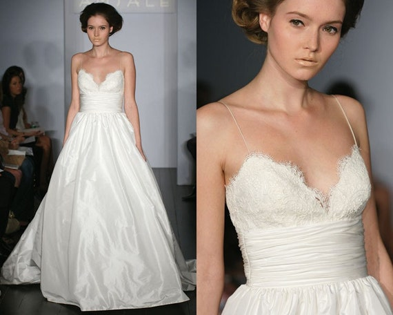 Princess ballgown wedding dress with lace by for Spaghetti strap wedding dress with pockets