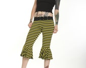 Green and Black Stripe Capri Pants