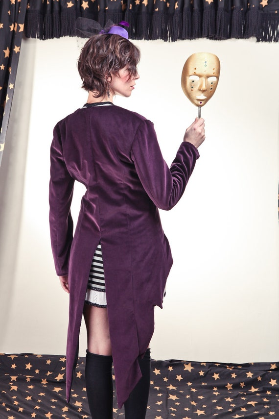 Purple Velour Carnival Jacket with Long Tails