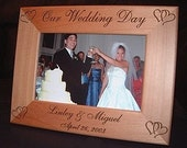 Personalized Engraved Our Wedding Day 4x6 Wood Frame Bride Groom Anniversary Shower Gift Keepsake